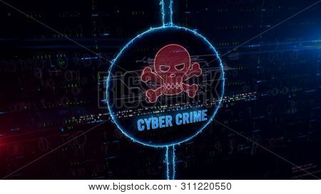 Cyber Crime With Skull Symbol Hologram In Dynamic Electric Circle On Digital Background. Modern Conc