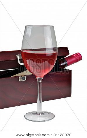 Red Wine Glass And Box.