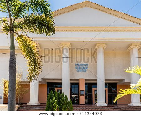 Puerto Princesa, Palawan, Philippines - March 3, 2019: Entrance Of Palawan Heritage Center Beige Col
