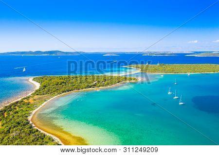 Beautiful Blue Sea Paradise, Archipelago On The Island Of Dugi Otok In Croatia, Aerial Seascape