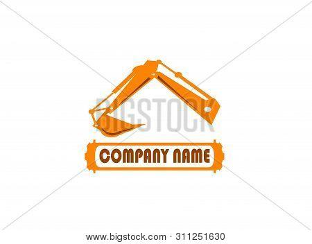 Excavator Arm Digger For Logo Design Illustration In White Background