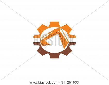 Excavator Arm Digger In A Pinion Gear Shape For Logo Design Illustration