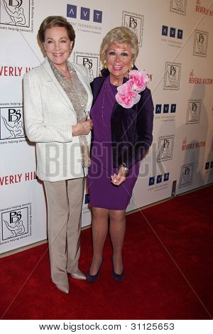 LOS ANGELES - MAR 18: Julie Andrews; Mitzi Gaynor arrives at the Professional Dancer's Society Gypsy Awards at the Beverly Hilton Hotel on March 18, 2012 in Los Angeles, CA