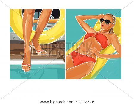 Beautiful Woman In A Swimming Pool