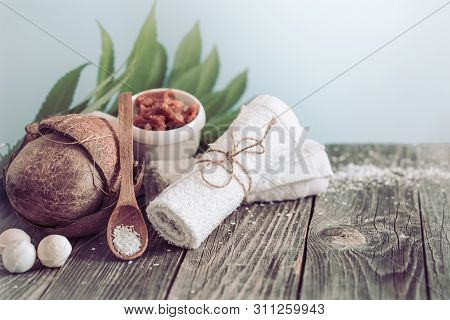 Spa And Wellness Setting With Flowers And Towels. Bright Composition With Tropical Flowers. Dayspa N
