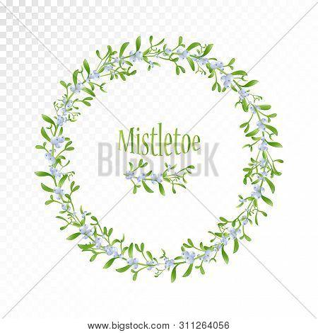 Merry Christmas Mistletoe Wreath. Christmas Round Frame . Xmas Mistletoe Berries And Fir Branches Wr