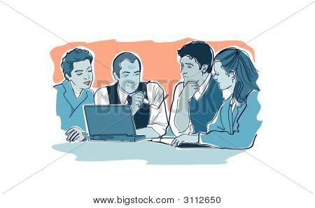 A Business Meeting Of 4 Persons