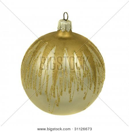 Silver christmastree ornament with gold, isolated on white background