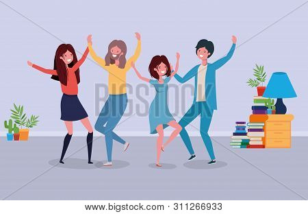 Young People Dancing In The Livingroom Vector Illustration Design