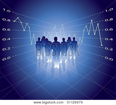 business people with digital diagram background