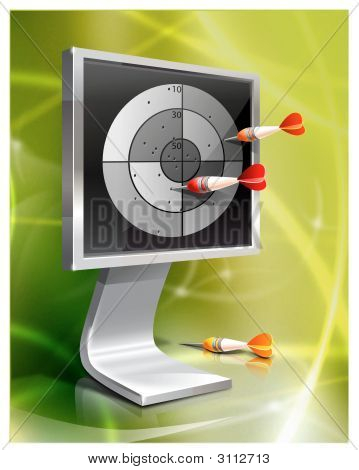 Computer Monitor With Darts