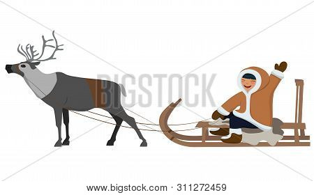 Eskimo On Deer Sledding. Isolated Image On White Background. Vector Image