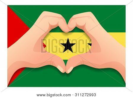 Sao Tome And Principe Flag And Hand Heart Shape. Patriotic Background. National Flag Of Sao Tome And