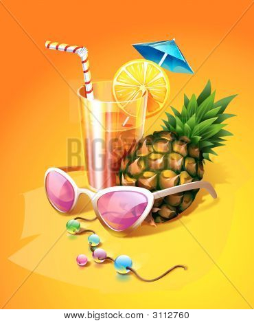 Tropical Cocktail With Pineapple, Sunglasses And Beads