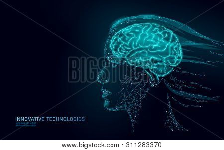 Low Poly Abstract Brain Virtual Reality Concept. Female Woman Profile Mind Imagination Dream. Modern