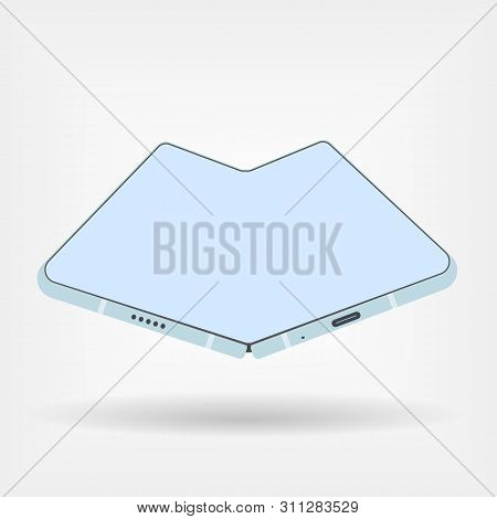 Foldable Smartphone In Blue Color Style. Vector Illustration