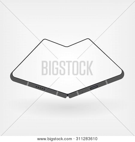 Foldable Smartphone In Gray Style. Vector Illustration