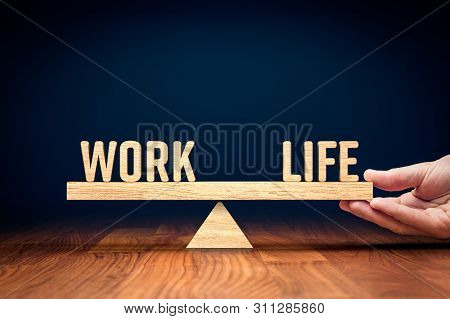 Work Life (work-life) Balance Concept. Helping Hand Of Personal Coach Helps With Work And Life Balan
