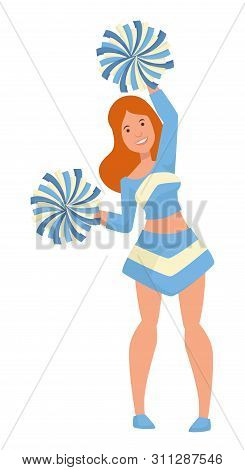 Girl With Pompoms Cheerleader Or Student Isolated Female Character