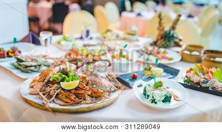 Picture Of A Delicious Seafood At Luxury Restaurant. A Plate Of Fresh Seafood With Shrimps, Prawns,