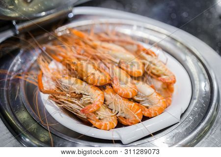 Picture Of Steamed Fresh River Prawns Served In Luxury Restaurant