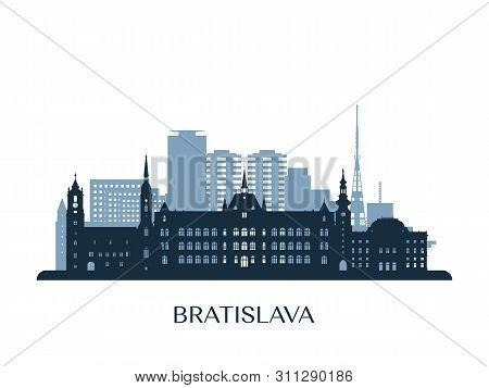 Bratislava Skyline, Monochrome Silhouette. Design Vector Illustration.