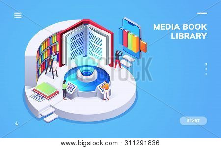 Isometric View On Digital School Or University Library. Computer And Smartphone, Electronic Book Or
