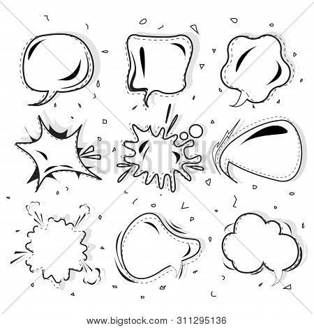 Cartoon Speech Bubble Black White Vector Set, Speech Bubble Set In Pop Art Stylem, Comic,bubble For