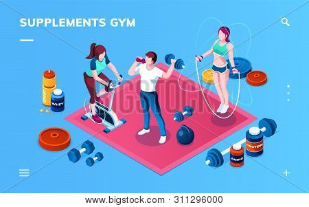 Gym Supplement, Workout Or Fitness, Sport Training Application Screen For Smartphone. Isometric Body
