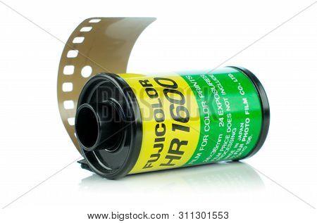 Niedersachsen, Germany July 14, 2019: A Roll Of Fujicolor Hr1600 Analog Camera Film On A White Backg