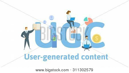Ugc, User-generated Content. Concept With People, Letters And Icons. Flat Vector Illustration. Isola