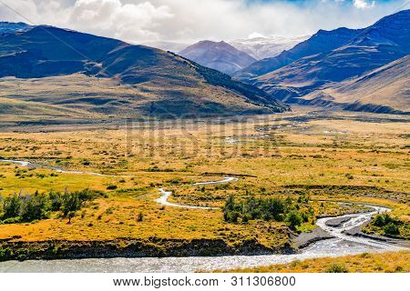 Natural Landscape Of Los Glaciares National Park With High Mountain And River At El Chalten, Argenti