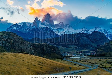 View Of The Famous Mount Fitz Roy Or Cirro Fitz Roy At El Chalten Village In Los Glaciares National