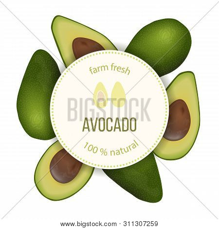 Avocado Round Circle Badge With Copy Space On Stripe. Ripe Raw Fruit. Persea Americana Exotic Whole