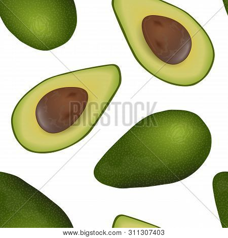 Falling Avocado Seamless Vector Pattern Ripe Raw Fruit. Persea Americana Exotic Whole And Halved