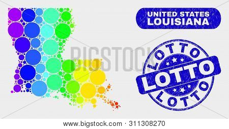 Rainbow Colored Spotted Louisiana State Map And Seal Stamps. Blue Rounded Lotto Textured Seal. Gradi