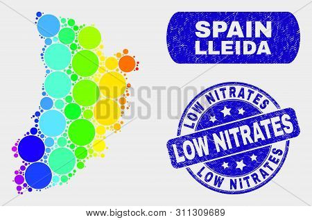 Rainbow Colored Dotted Lleida Province Map And Watermarks. Blue Round Low Nitrates Grunge Stamp. Gra