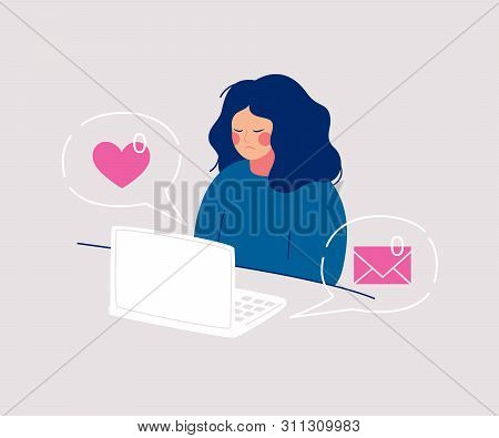 Disheveled Sadness Woman Sits At The Computer Having Zero Received Messages And Likes From Friends.
