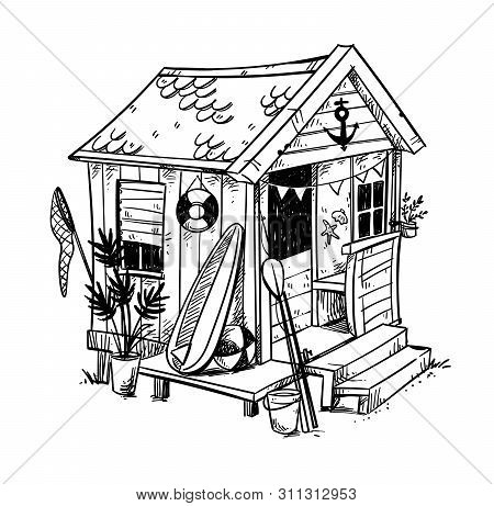 Beach Hut, Cosy Holiday Home At The Beach Vector Illustration