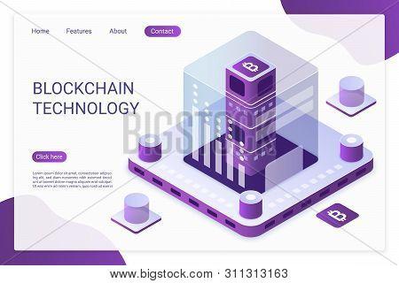 Blockchain Technology Landing Page Vector Template. Bitcoin Financial Transactions, E Billing Servic