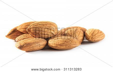 Almond Seeds Isolated On White Background