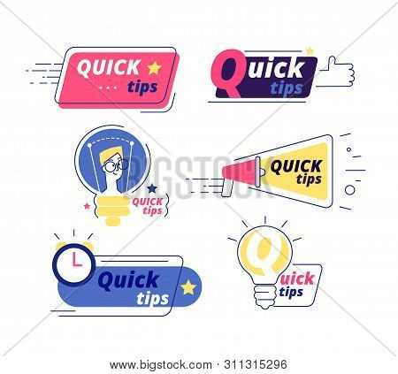 Quick Tip. Tricks Quick Tips Solution Logos Helpful Advice Text Shapes Isolated Vector Labels. Illus