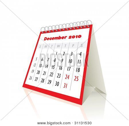 2010 december calendar in editable vector format