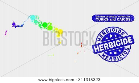 Rainbow Colored Spotted Turks And Caicos Islands Map And Seal Stamps. Blue Rounded Herbicide Distres
