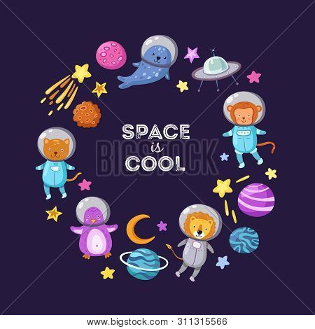 Space Animals Background. Cute Baby Animal Astronauts Flying Kid Pets Cosmonauts Cartoon Funny Space