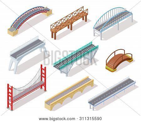 Isometric Bridge. Concrete Bridges Drawbridge River Arch Bridging City Road Infographics Isolated 3d