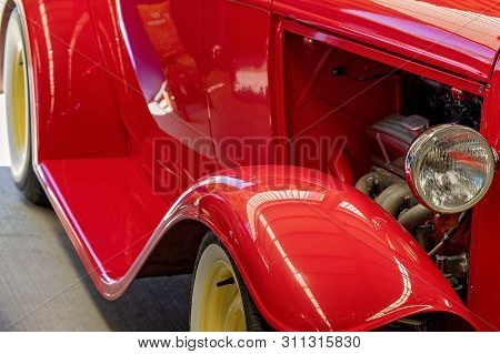 Close Up Of Hot Rod Engine, Mudguard And Running Board Custom Classic Vintage Car