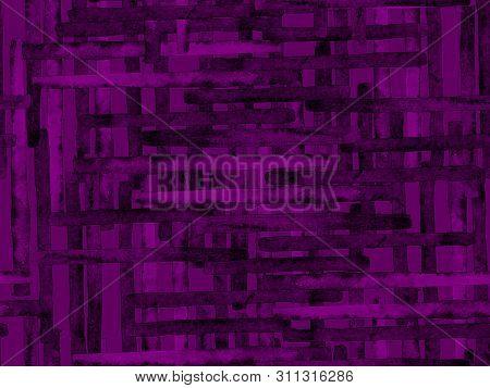 poster of Bauhaus Seamless Pattern. Watercolor Geometric  Purple Violet Lines Design. Art Organic Geo Background. Large Unusual Minimal Print. Trendy Fun Abstract Paint Watercolour Colour Stripes.