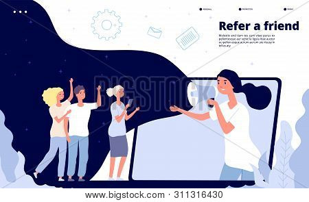 Refer A Friend. People Shouting On Megaphone Friendly Buzzing, Friends Business Reference Landing Pa