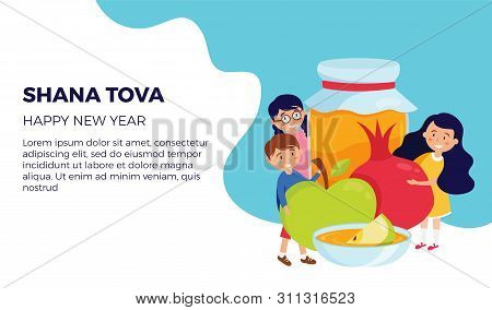 Shana Tova Greeting Card With Happy Kids Holding Rosh Hashana Symbols, Appla, Pomegranate And Honey.
